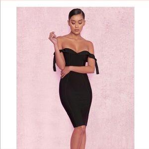 House of CB Black Off the Shoulder Dress Bandage